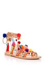 Pom Pom Gladiator Wrap Sandals by ELINA LINARDAKI Now Available on Moda Operandi