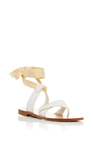 Grear White Leather Sandals With Ankle Lace Up by SARAH FLINT Now Available on Moda Operandi