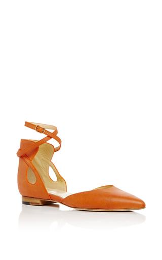 Medium sarah flint orange hannah nappa leather d orsay flats with ankle strap