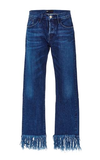 Medium 3x1 medium wash denim cropped jeans with frayed fringed hems