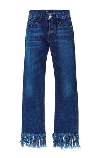 Medium 3x1 medium wash denim cropped jeans with frayed fringed hems