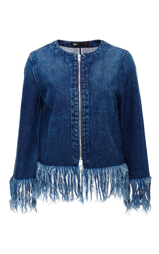 Denim Fringed Hem Jacket by 3X1 Now Available on Moda Operandi