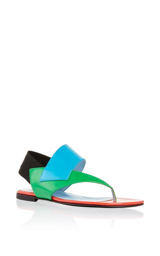 Medium pollini turquoise studio pollini flat leather veronica sandal