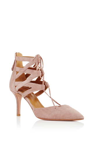Medium aquazzura pink belgravia suede criss cross pumps