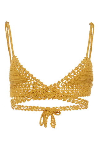Medium she made me gold cotton crochet wrap triangle bikini top