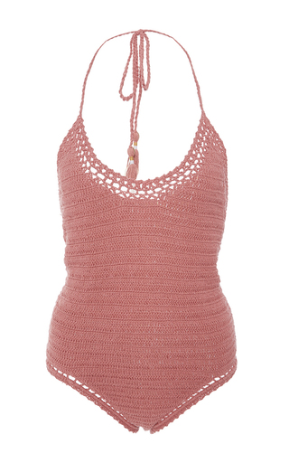 Medium she made me pink cotton crochet halter neck one piece swimsuit