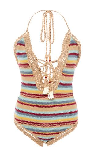 Medium she made me stripe dhari cotton striped one piece swimsuit
