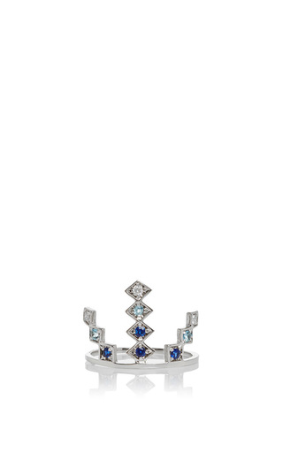 Medium azlee gold 18k white gold and sapphire triple burst ring
