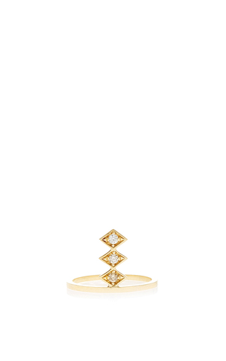 Medium azlee gold 18k gold and diamonds single burst ring