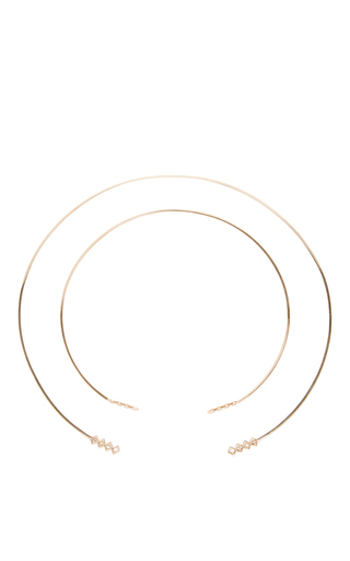 Medium azlee gold 18k gold and diamonds collar and choker set