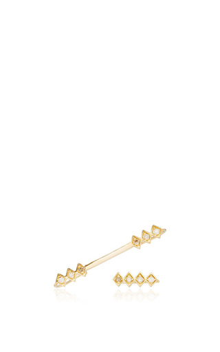 Medium azlee gold 18k gold and diamond single burst ear wire and rod set