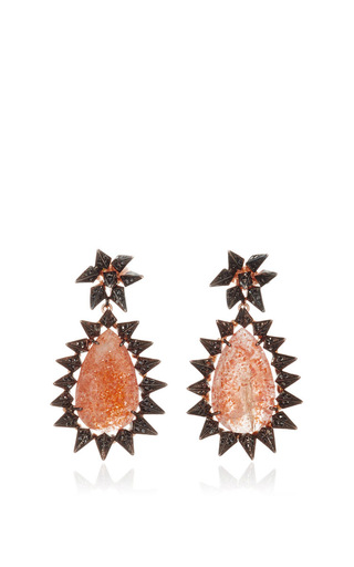 Medium karma el khalil gold gold blackened sunstone rock earrings