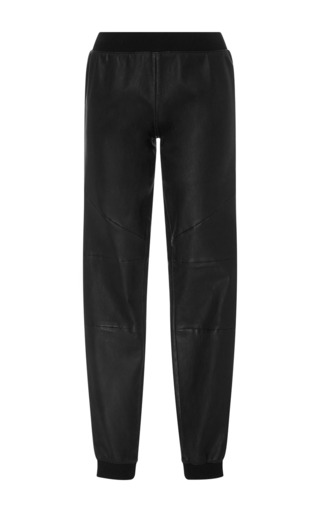 Black Stretch Leather Track Pants by ATM Now Available on Moda Operandi