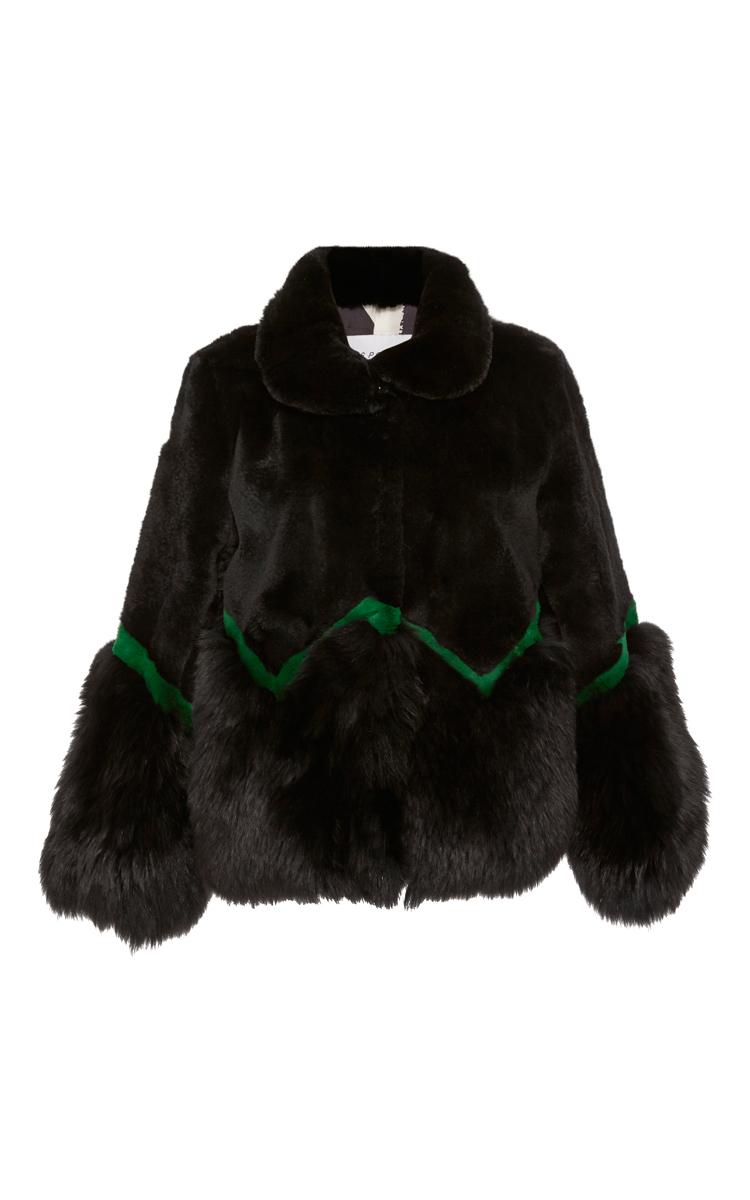 Black Amp Emerald Naomi Short Jacket In Rex Rabbit Moda Operandi Coat