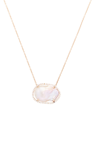 Medium jordan alexander light pink one of a kind 18k rose gold diamond and pearl necklace