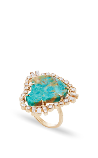 MO Exclusive One of a Kind 18K Rose Gold Diamond and Turquoise Ring