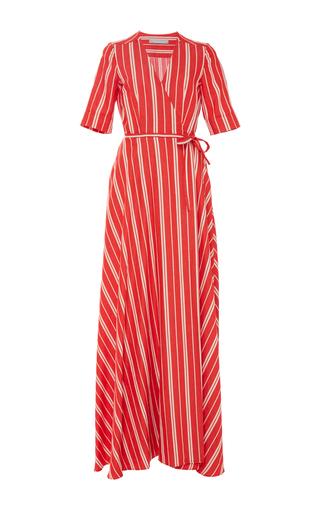 Medium christine alcalay red linen stripe wrap dress