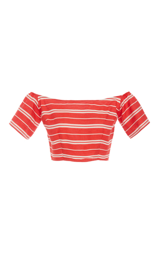Medium christine alcalay red linen stripe off the shoulder top