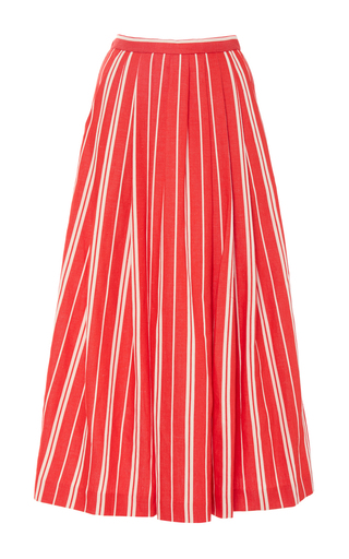 Medium christine alcalay red linen pleated a line skirt