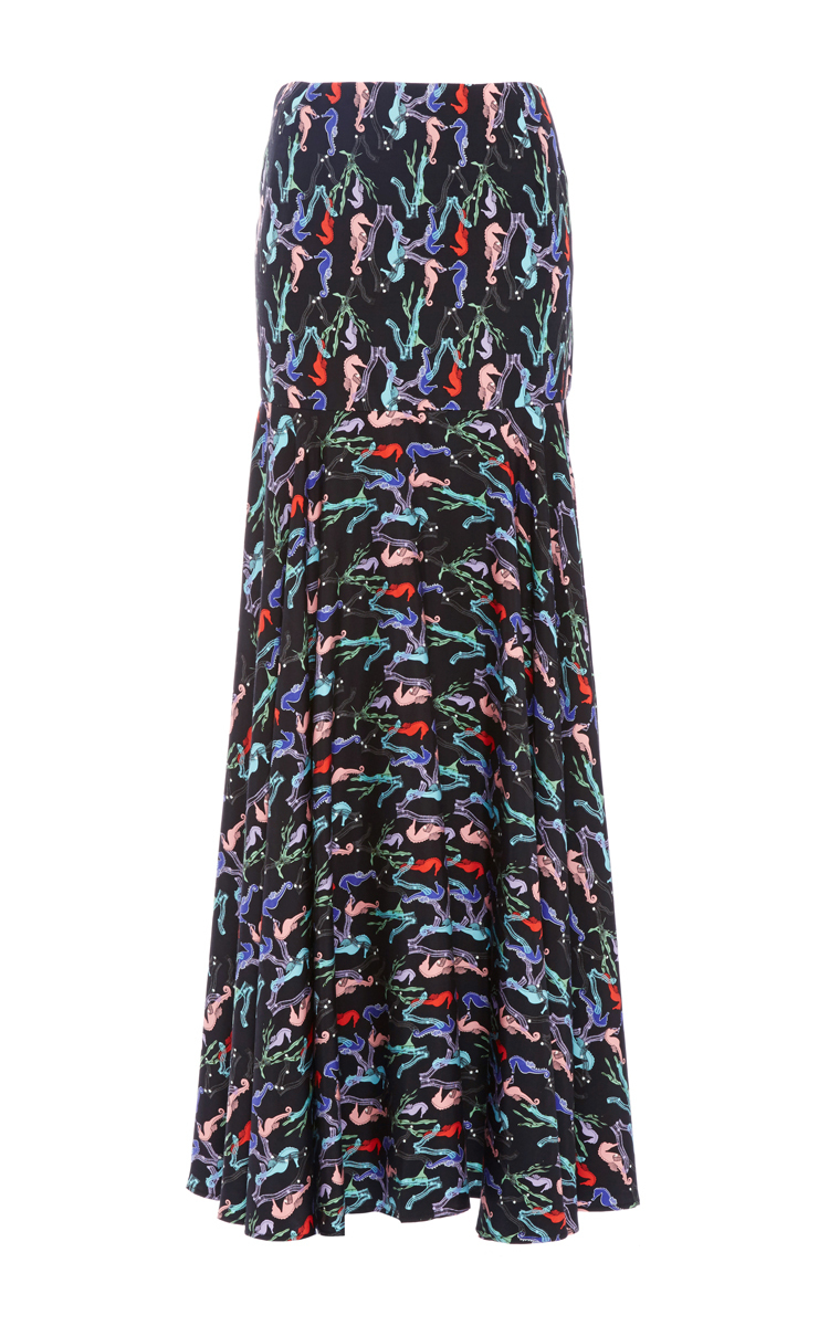 244985f2d9 Seahorse Print Fit And Flare Maxi Skirt by Christine Alcalay | Moda ...