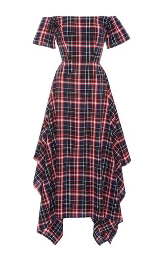Medium christine alcalay navy cotton madras off the shoulder dress
