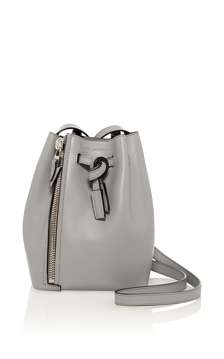 c86ac37a694 Elena GhiselliniMini Leo Bucket Bag in Graphite Sensua Leather. CLOSE.  Loading