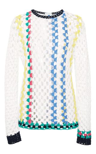 Medium mira mikati white crochet stripes sweater