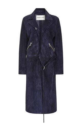 Medium sandy liang navy suki suede coat