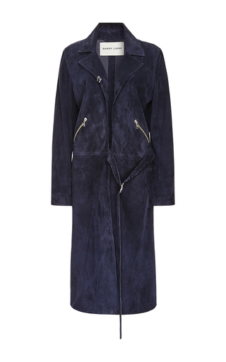 Medium sandy liang navy suki suede coat