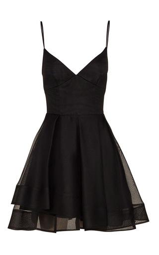Medium alex perry black stevie silk organza mini dress