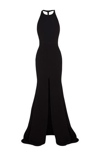 Medium alex perry black beverly racer split gown