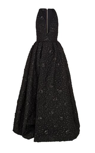 Medium alex perry black lynda floral v gown