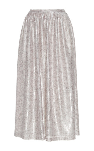 Medium sally lapointe silver speckled sequin midi skirt