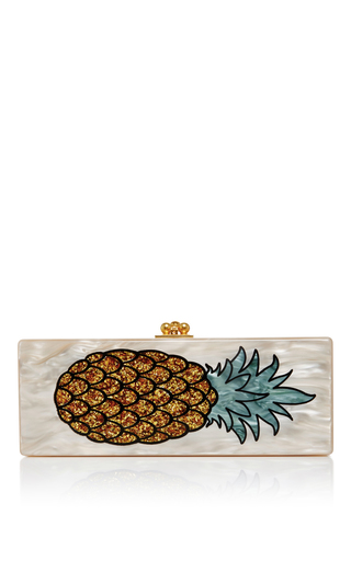 Medium edie parker off white flavia pineapple clutch