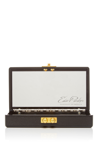 Black Jean Striped Clutch With Rainbow Confetti by EDIE PARKER Now Available on Moda Operandi
