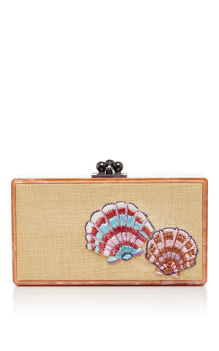 Medium edie parker tan jean raffia front clutch with shell embellishment