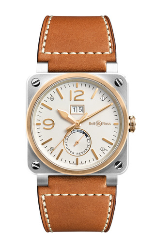 Medium bell ross brown steel and rose gold aviation watch