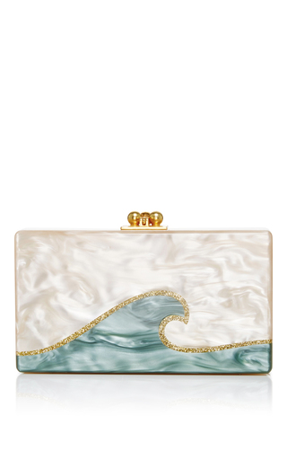 Medium edie parker nude rectangular jean tidal wave clutch
