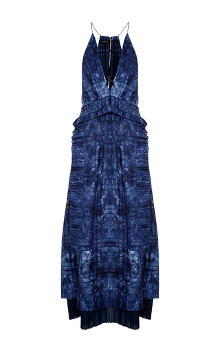 Medium thakoon blue open weave cotton ruffled long dress