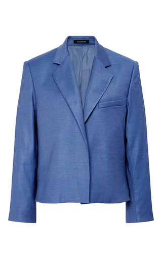 Medium thakoon blue wool suiting boyfriend blazer