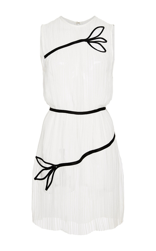 Medium thakoon white solid chiffon pleated dress