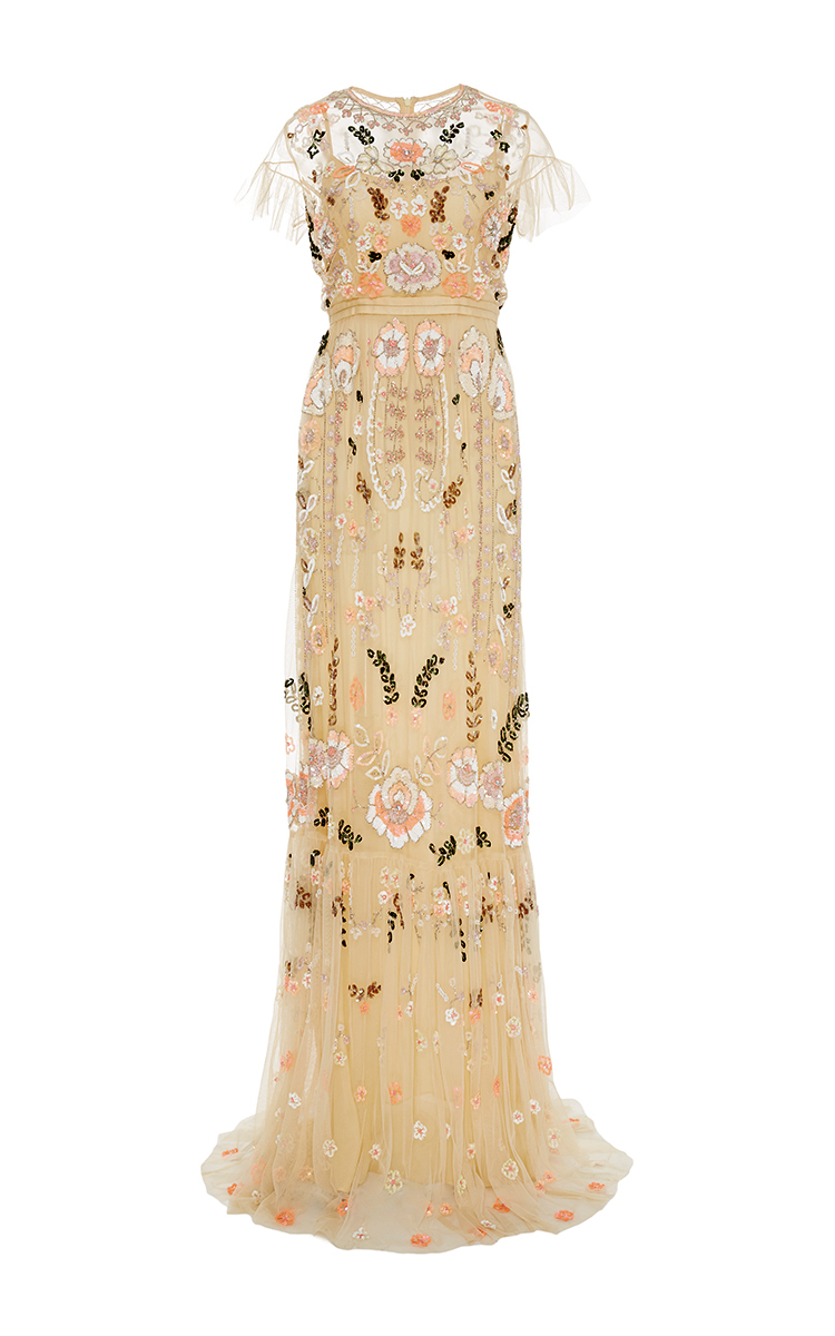 Dust Yellow Floral Embroidered Tiered Maxi Dress by Needle & Thread ...
