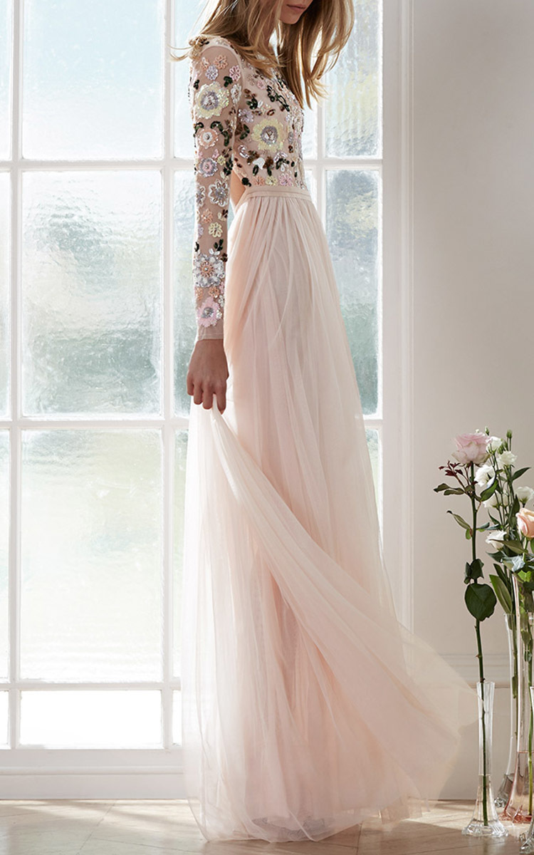 1909db14cdcc Pink Floral Cluster Gown by Needle & Thread   Moda Operandi