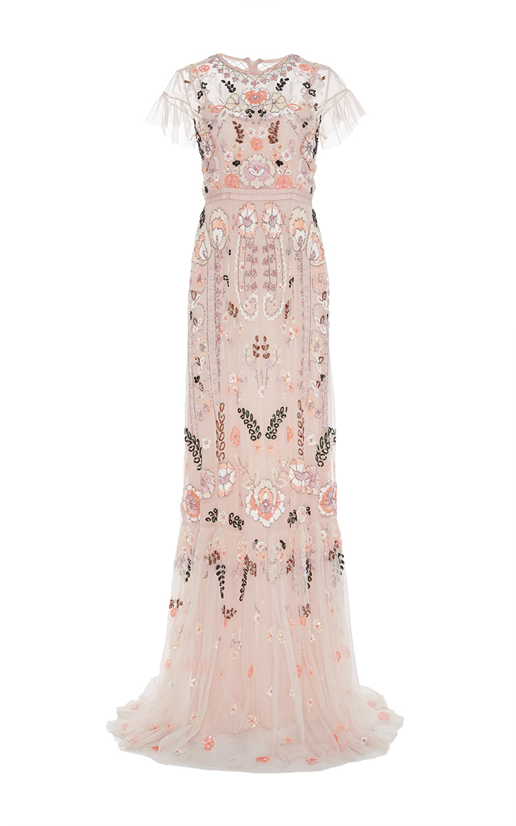 Pink floral embroidered tiered maxi dress by needle moda