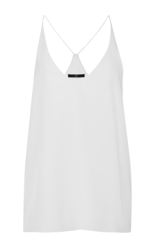Medium tibi white silk draped tank
