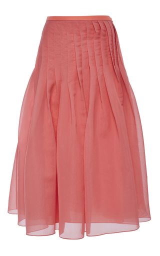 Watermelon Isa Organza Pleated Skirt by TIBI Now Available on Moda Operandi