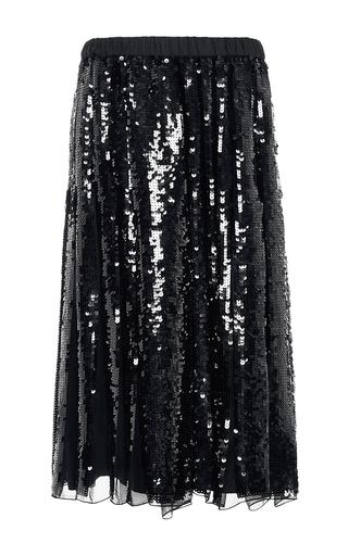 Medium tibi black silk pleated skirt