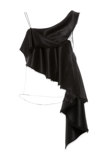 Medium zac posen black asymmetric cascading ruffle top