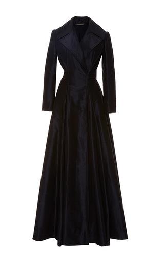 Medium zac posen navy collared taffeta a line gown