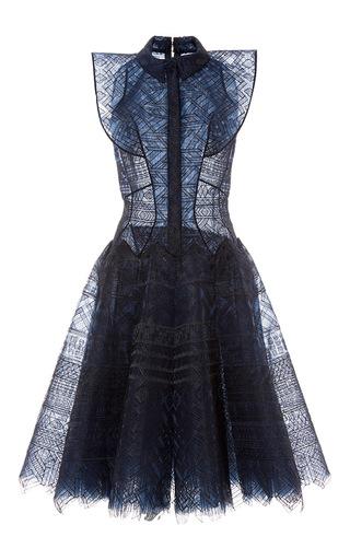 Medium zac posen navy guipure lace drop waist dress